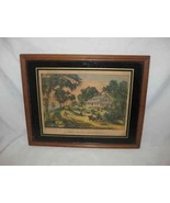 """Vintage 12"""" X 15"""" Currier And Ives A Home On The Mississippi Reproductio... - $86.89"""