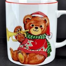 Christmas Teddy Bear Trumpet Vintage Coffee Mug Cup Japan Porcelain Tea ... - $18.25