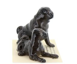 Hagen Renaker Dogs Pug Mama and Baby Black Ceramic Figurine image 9