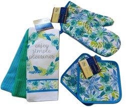 FLORAL Design KITCHEN SET 6pc Dish Towels Potholders Oven Mitt Blue Flow... - $15.49