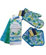 SPRING Design KITCHEN SET 6pc Dish Towels Potholders Oven Mitt Blue Flow... - $15.49