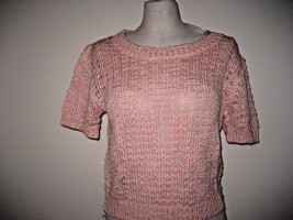 Sanctuary Womens Crew Neck Crop Short Sleeve Knit Sweater Peach S M L NWT - $30.39