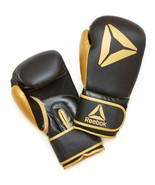 New Reebok 16 Ounces Combat Sparring Boxing Gloves Gold/Black NIB - $36.06