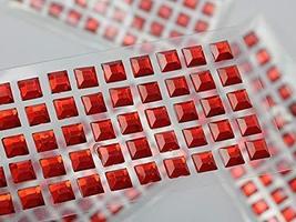 KraftGenius Allstarco 6mm Red LQ17 Square Self Adhesive Acrylic Rhinestones Plas - $9.79
