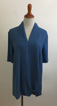 H by Halston Blue Chiffon and Knit Top Size Medium - $15.83