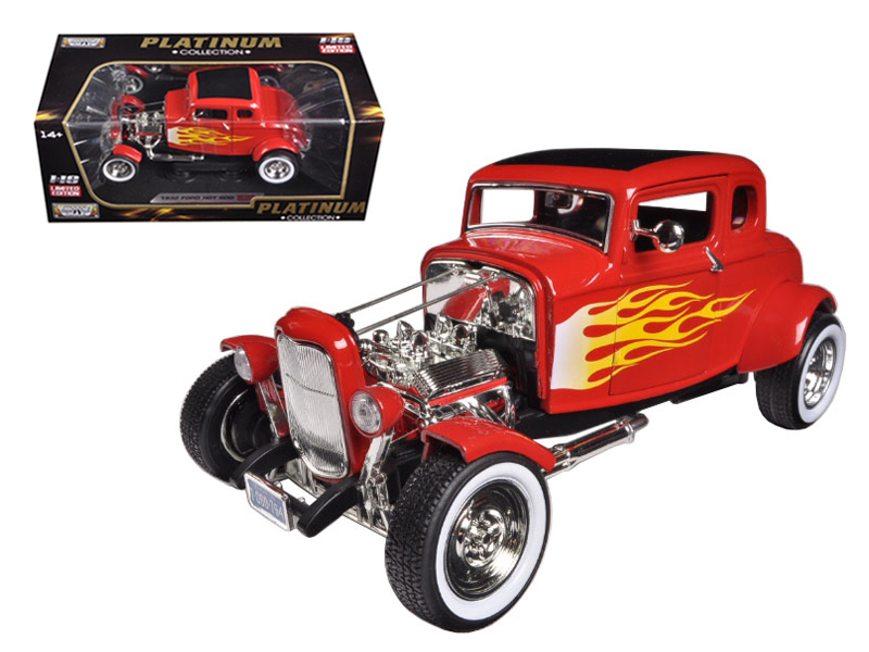 1932 Ford Hot Rod Red with Flames Limited Edition / Platinum Collection 1/18 Die - $61.08