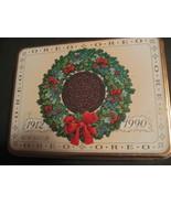"""1990 Vintage Original OREO Wreath Tin 8X6X2.5"""" Nabisco Brown Lining - $15.40"""