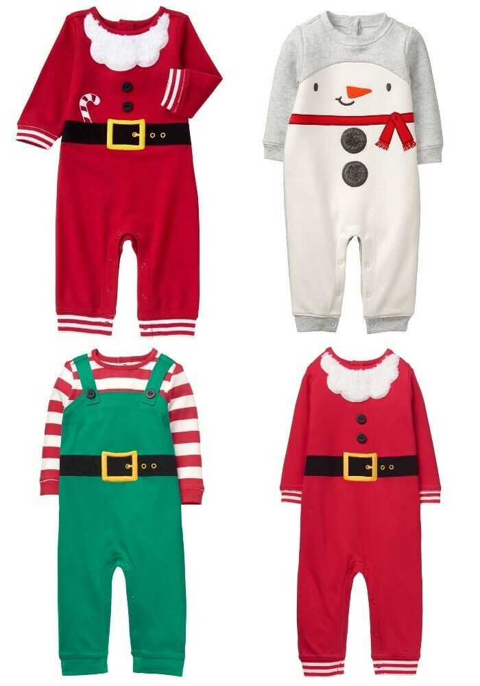 NWT Gymboree North Pole Party Holiday Shop Santa Elf Snowman Christmas Romper  - $8.79