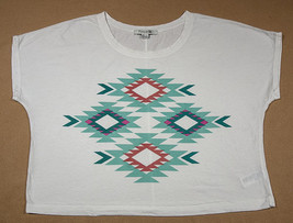 Forever 21 Womens Large Geometric Cropped White T-SHIRT Tribal Aztec Top Shirt - $12.86