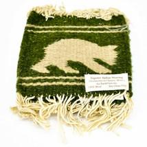Handmade Zapotec Indian Weaving Hand-Woven Bear Green Wool Coaster Set of 4 image 1
