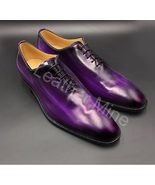 Handmade Purple Patina Whole Cut Oxfords Leather Dress Shoes For Men - $155.19+