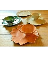 Woodfield by Steubenville Snack Set, 4 Plates and 3 Tea Coffee Cups Vintage - $22.99