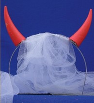 Bridal Veil w/ Devil Horns Bachelorette Party Shower Gag Gift Costume He... - €5,22 EUR