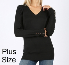 Plus V Neck Sweater, Black Plus Sweater, Womens Plus Sweater, Gold Button Detail
