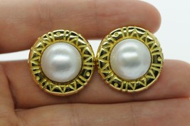 Designer SMC 18K Yellow Gold 15mm+ Large Mabe Pearl Earrings - $1,160.00