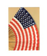 PICTURE POSTCARD-MODERN HAND FAN-UNFOLDS TO REVEAL OLD GLORY FIRST DAY I... - $1.94