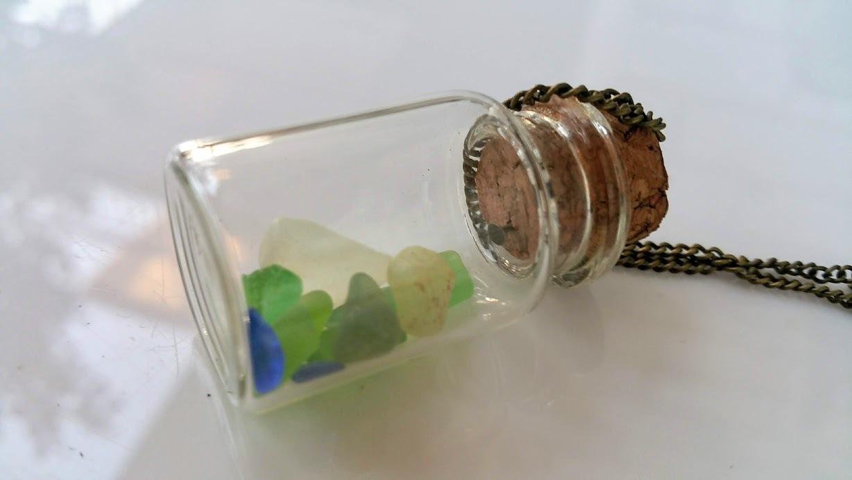 Goddess's Message 1: True Hawaiian sea glass in a small glass bottle, necklace
