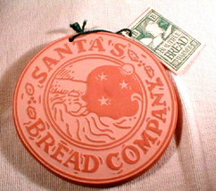 terra cotta Bread warmer Trivet  round  Hill Designs Santa 1995 - $25.00