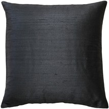 Pillow Decor - Sankara Black Silk Throw Pillow 18x18 - £30.60 GBP
