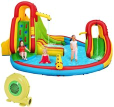Inflatable Bounce House, 7 in 1 Mighty Pool Slide, Bouncer w/Climbing Wall, Bask - $1,950.00