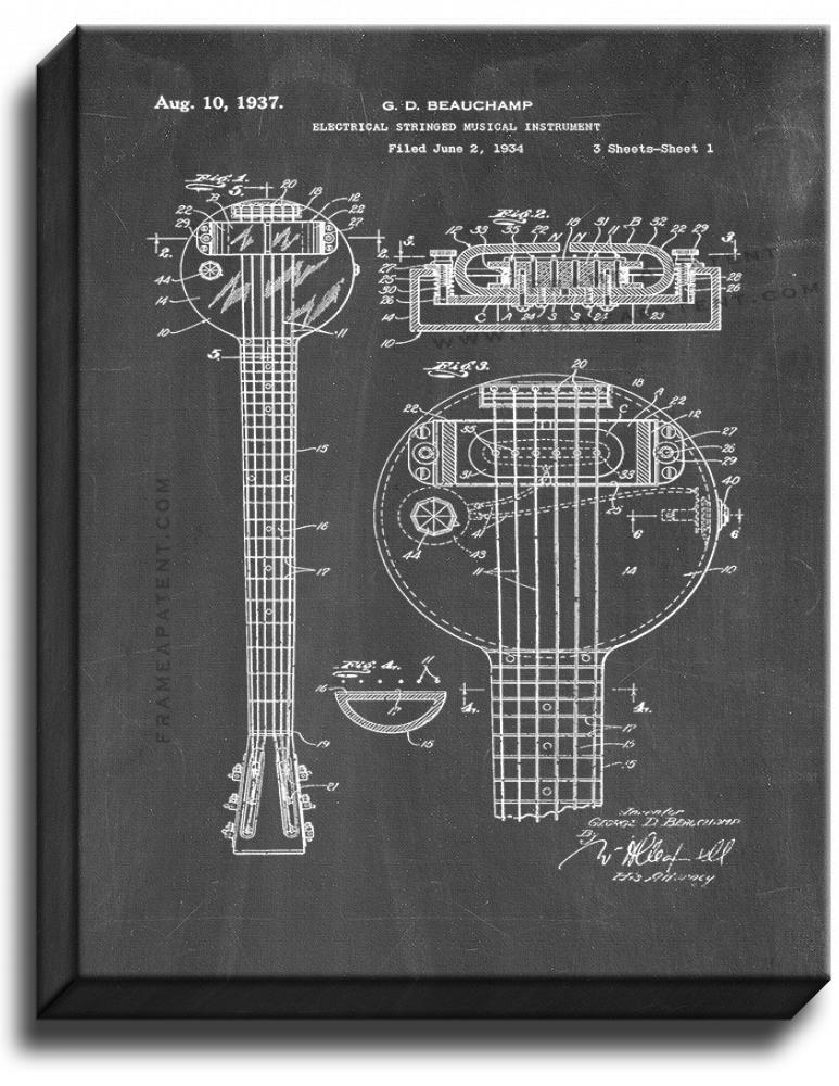 Primary image for Electrical Stringed Musical Instrument Patent Print Chalkboard on Canvas