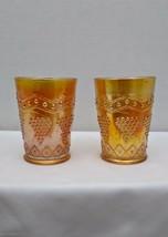 "2 FENTON CARNIVAL GLASS LATTICE AND GRAPE MARIGOLD 4"" TUMBLERS 1912-1925 - $35.00"