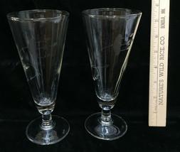 Etched Fluted Glasses Champagne or Pilsner Beer Flower Floral Pair Set 2... - $14.84