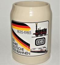 DB 150 Jahre Deutsche Eisenbahnen 1835 1985 Beer Mug Souvenir Salt Glaze... - $39.59