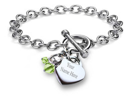 Personalized Name Customized Birthstone Charm Bracelet Chain Stainless S... - £19.02 GBP