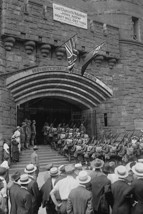 71st Street Armory in New York welcomes uniformed doughboys in formation with ri - $19.99+