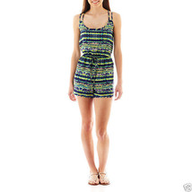 Bebop Racerback Print Romper Navy/Lime New With Tags Junior Size L Msrp ... - $14.99