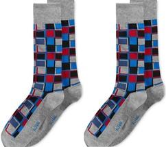 Pack of 2  ----Alfani Red Black Blue Cubist Grid Men's Dress Socks - $10.88