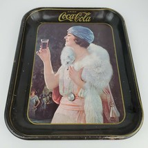 Vintage Drink Coca Cola Flapper Girl Metal Serving Tray Advertisement Di... - $16.82