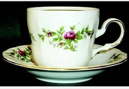 Flat Cup & Saucer Set Moss Rose (Thailand Traditions) Johann Haviland 24K Gold - $9.49