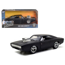 Doms 1970 Dodge Charger R/T Matt Black Fast & Furious 7 Movie 1/24 Dieca... - $32.01