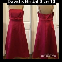 NEW! David's Bridal Tea Length Dress Size 10 Red Spaghetti Straps Fully ... - $19.79