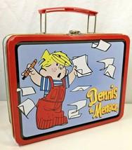 Vintage Dennis the Menace Metal Tin Lunch Box Storage Carry Case Organiz... - $14.84