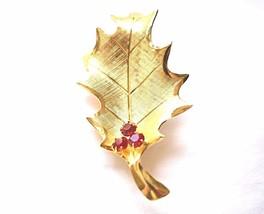 Rhinestone Leaf Statement Brooch Coat Sweater Pin Fall Holiday Costume J... - $12.19