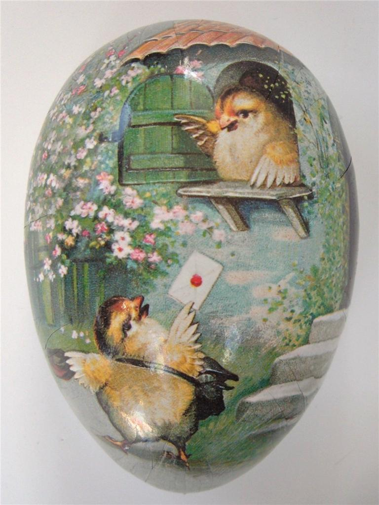 Vintage German Papier Mache Easter Egg Candy Box Chicks Mailman House