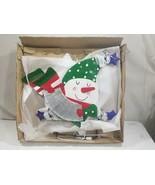 "32"" Metal Lighted Snowman Snowkid w Accordion  OPEN BOX   FREE USA SHIP - $50.00"