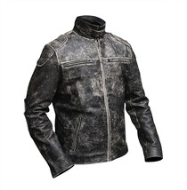 Mens Vintage Motorcycle Retro Distressed Black Antique Biker Leather Jacket image 3