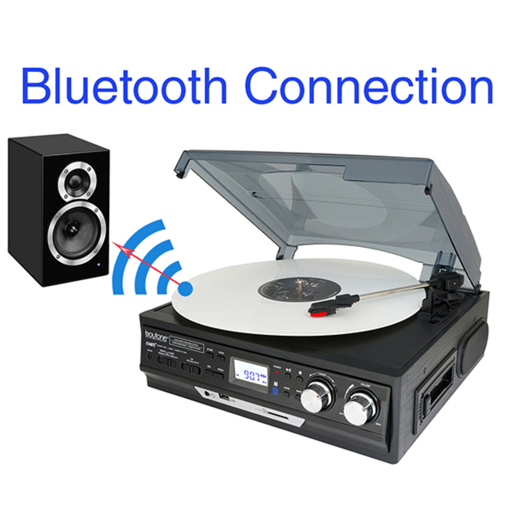 Boytone BT-37B-C Bluetooth 3-Speed Stereo Turntable, Wireless Connect to Devices