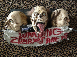 Life Size Severed Head WARNING ZOMBIES Sign Plaque Halloween Prop Decora... - $98.97