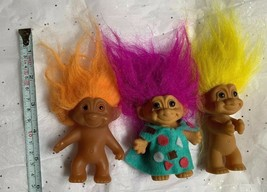 3 TROLL DOLL MIXED LOT Vintage Russ Toys Cake Toppers Kids Play Items - $24.75