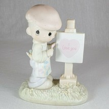 Precious Moments Boy Painting I Love You  Loving You Dear Valentine 1986 (at) - $7.92