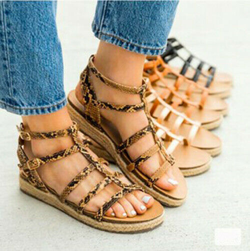 Strappy sandal in python pattern only