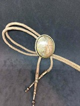 Bolo Tie~Brn Marble~Gold tone Setting - $14.25