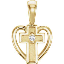 14K White Gold or 14K Yellow Gold Child Heart Cross Pendant with Diamond - $168.99