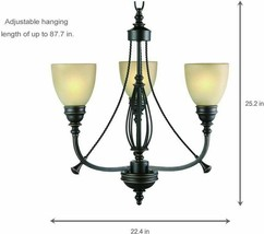 Chandelier 3 Light Rustic Ceiling Fixture with Tea Stained Glass Shades Bronze - $54.69