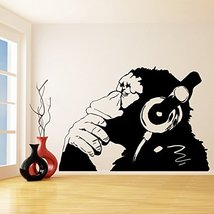 (87'' x 60'') Banksy Vinyl Wall Decal Monkey With Headphones / One Color Chimp L - $123.04